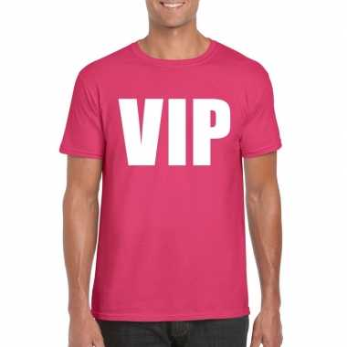 Goedkoop vip tekst t shirt roze heren carnavalskleding