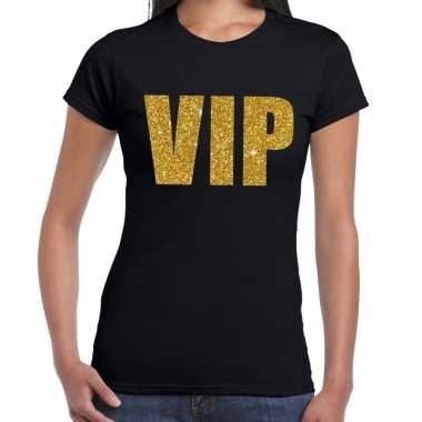 Goedkoop vip tekst t shirt zwart gouden glitter letters dames carnava