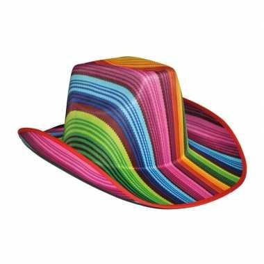 Goedkoop vrolijk gekleurde cowboyhoed carnavalskleding