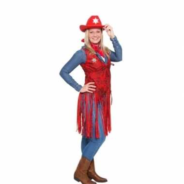 Goedkoop western cowboy vestje rood dames carnavalskleding