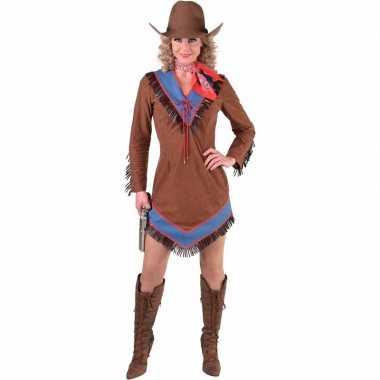Goedkoop western cowgirl jurkje bruin dames carnavalskleding