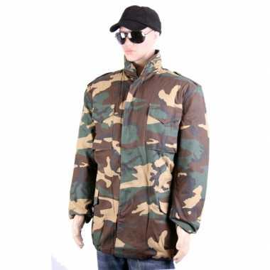 Goedkoop winterjas camouflage print carnavalskleding