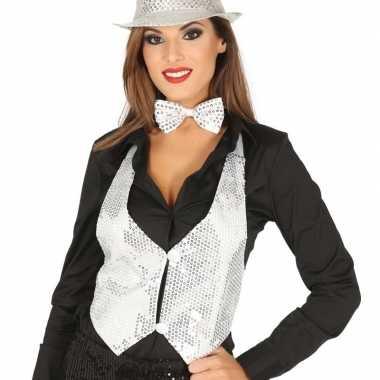 Goedkoop wit gilet glitters/pailletten dames carnavalskleding
