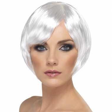 Goedkoop witte damespruik kort model carnavalskleding