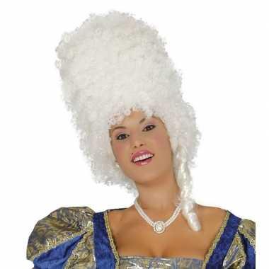 Goedkoop witte hoge krullen pruik dames carnavalskleding