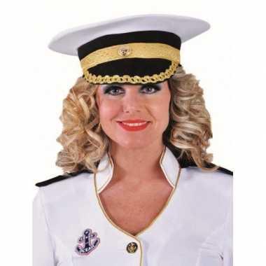 Goedkoop witte luxe kapitein pet carnavalskleding