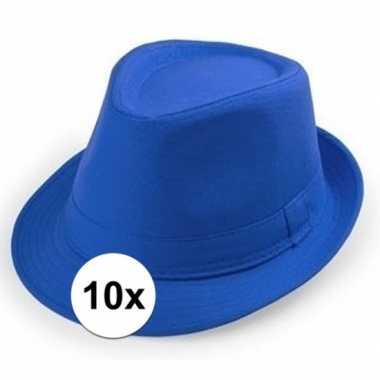 Goedkoop x blauwe trilby hoedjes volwassenen carnavalskleding