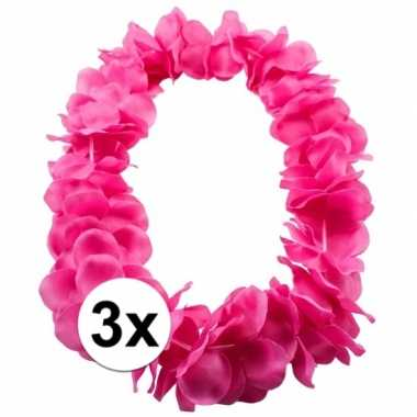 Goedkoop x bloemenkrans ketting roze carnavalskleding