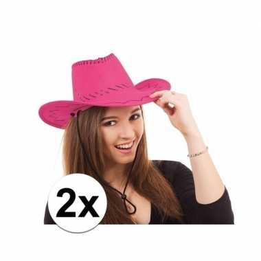 Goedkoop x cowboy hoed roze toppers carnavalskleding