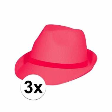 Goedkoop x feest toppers hoedjes fuchsia roze carnavalskleding