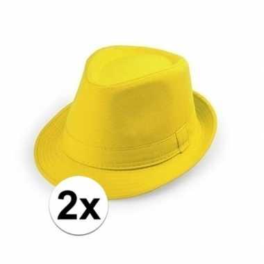 Goedkoop x gele trilby hoedjes volwassenen carnavalskleding