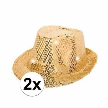 Goedkoop x gouden glitter hoedjes led licht carnavalskleding