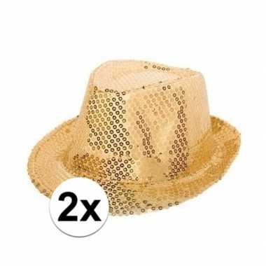 Goedkoop x gouden hoedjes gouden pailletten carnavalskleding