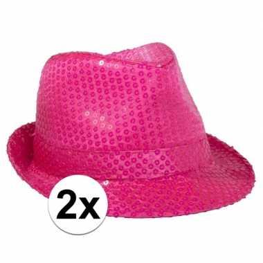 Goedkoop x neon roze gleufhoed pailletten carnavalskleding