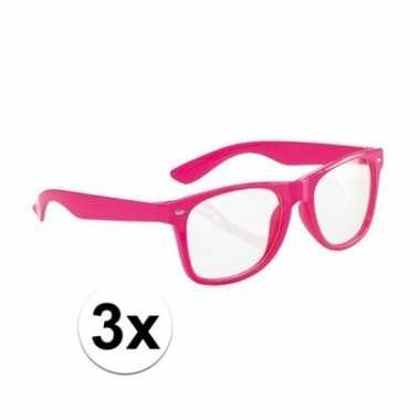 Goedkoop x neon roze party verkleedbril volwassenen carnavalskleding