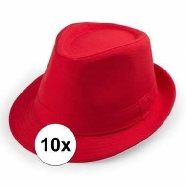 Goedkoop x rode trilby hoedjes volwassenen carnavalskleding