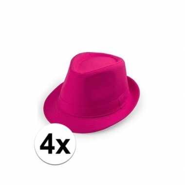Goedkoop x roze trilby hoedjes volwassenen carnavalskleding 10109530