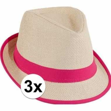 Goedkoop x stro trilby hoedje roze toppers concert carnavalskleding
