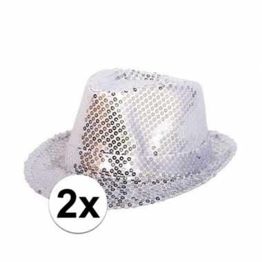 Goedkoop x zilveren hoedjes zilveren pailletten carnavalskleding
