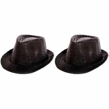 Goedkoop x zwarte hoedje zwarte pailletten carnavalskleding