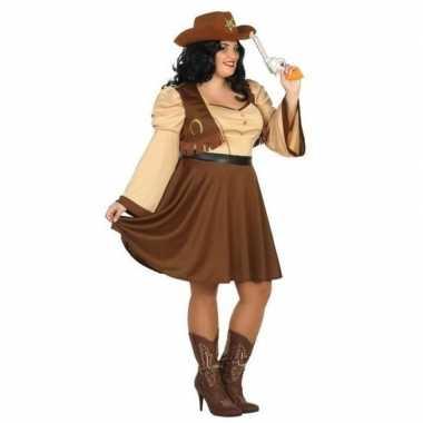 Goedkoop xxl carnaval/feest cowgirl verkleedcarnavalskleding bruin da