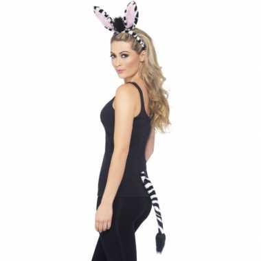 Goedkoop zebra verkleed setje volwassenen carnavalskleding