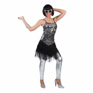 Goedkoop zilver/zwart jaren jurkje dames carnavalskleding