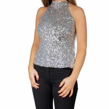 Goedkoop zilveren glitter pailletten disco halter topje/ shirt dames