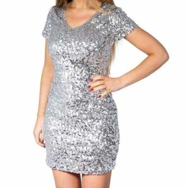 Goedkoop zilveren glitter pailletten disco jurkje dames carnavalskled