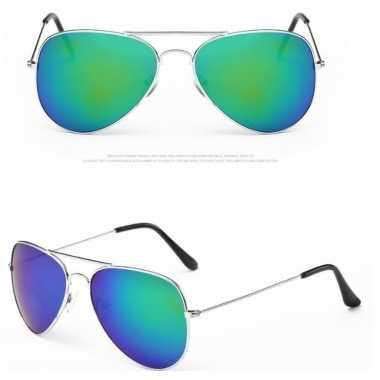 Goedkoop zilveren pilotenbril dames/heren carnavalskleding