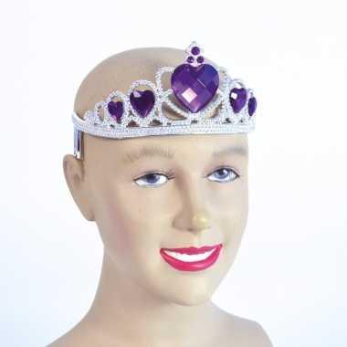 Goedkoop zilveren tiara paarse stenen carnavalskleding