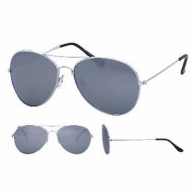 Goedkoop zilverkleurige pilotenbril volwassenen carnavalskleding