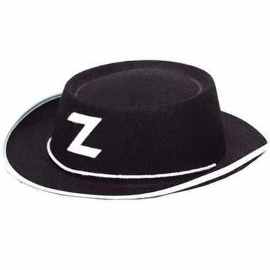 Goedkoop  Zorro hoedje zwart vilt kids carnavalskleding