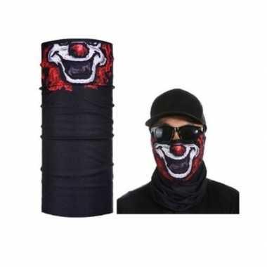 Goedkoop zwart biker masker clownprint volwassennen carnavalskleding