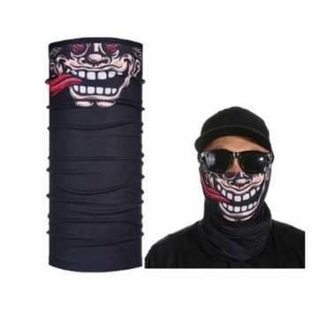 Goedkoop zwart biker masker grappig/funny gezichtprint volwassennen c