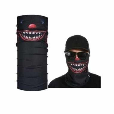 Goedkoop zwart biker masker horror/eng gezichtprint volwassennen carn