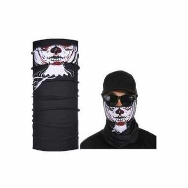 Goedkoop zwart biker masker skeletprint volwassennen carnavalskleding