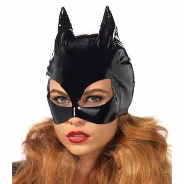 Goedkoop zwart catwoman masker vinyl carnavalskleding
