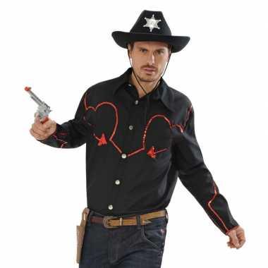 Goedkoop zwart cowboy overhemd rode afwerking carnavalskleding