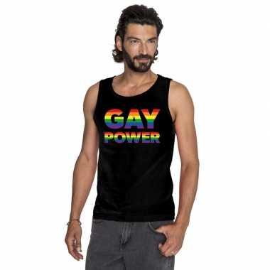 Goedkoop zwart gay power pride tanktop heren carnavalskleding