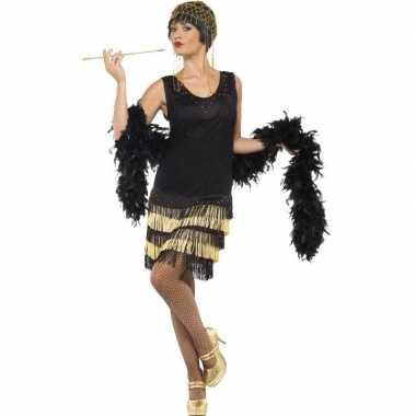 Goedkoop zwart/gouden jaren flapper jurk dames carnavalskleding