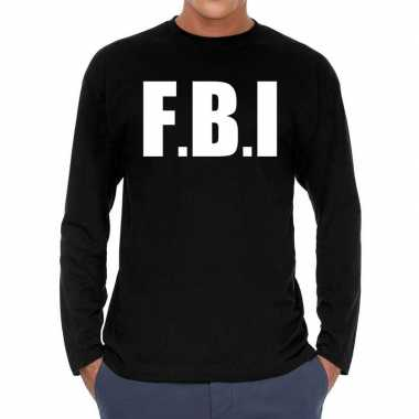 Goedkoop zwart long sleeve shirt f.b.i. bedrukking heren carnavalskle