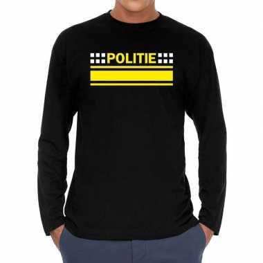 Goedkoop zwart long sleeve shirt politie bedrukking heren carnavalskl