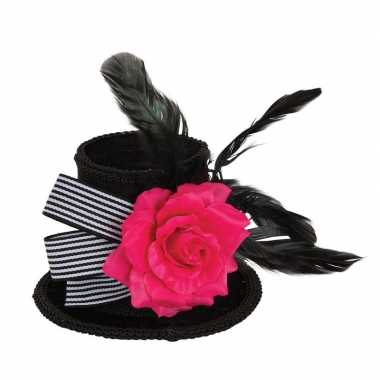 Goedkoop zwart mini fluwelen hoedje haarklem roos volwassenen carnava