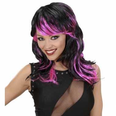 Goedkoop zwart roze punk pruik carnavalskleding