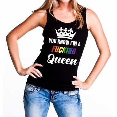 Goedkoop zwart you know i am a fucking queen tanktop dames carnavalsk