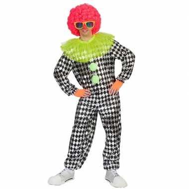 Goedkoop zwart zilver clowns carnavalskleding heren