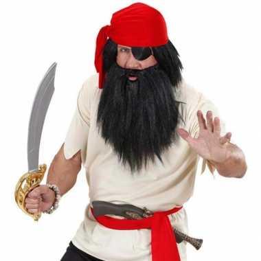 Goedkoop zwartbaard snor piraat carnavalskleding