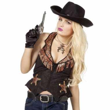 Goedkoop zwarte bruin cowboy vest dames carnavalskleding