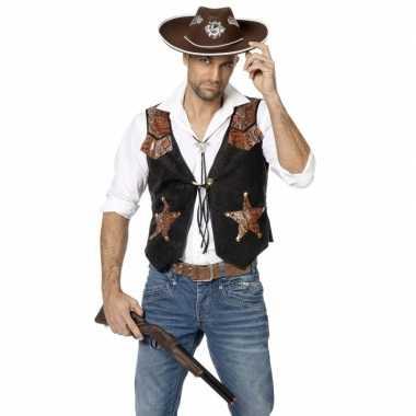 Goedkoop zwarte bruin cowboy vest heren carnavalskleding